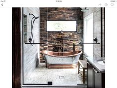 A rustic and modern bathroom () Magda of Euro Style Interior Design based in Chicago sent along some photos of a bathroom design she recently completed and it is stunning! Such incredible, warm textures. The scoop: My clients wanted Dream Bathrooms, Beautiful Bathrooms, Small Bathrooms, Luxurious Bathrooms, City Bathrooms, Narrow Bathroom, Style At Home, Bad Inspiration, Furniture Inspiration