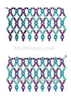 bead weaving patterns for bracelets Diy Necklace Patterns, Beaded Jewelry Patterns, Necklace Designs, Necklace Ideas, Beading Patterns Free, Beading Tutorials, Free Pattern, Weaving Patterns, Bead Patterns