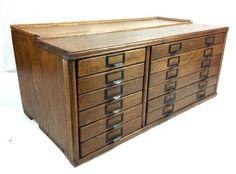 Edwardian Oak Index Card Holder Cabinet / Large Industrial Furniture / Chest   Antiques, Antique Furniture, Tables   eBay!