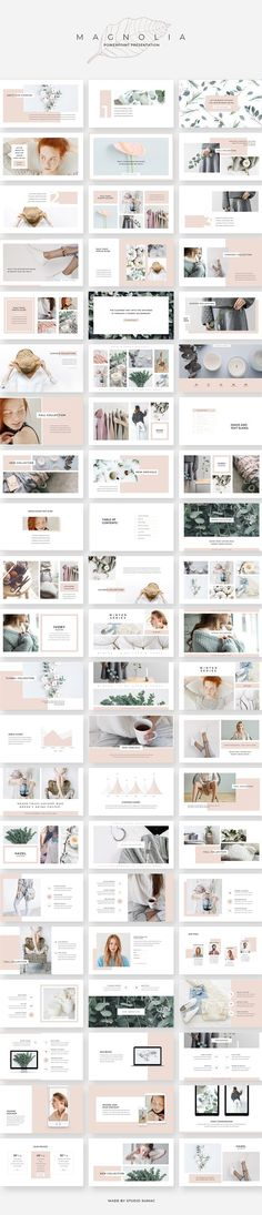 An elegant, fashionable & versatile presentation template. Magnolia design line has a soft, minimalist aesthetic that's both eye catching and professional. Magnolia PowerPoint Presentation by Studio Sumac. Indesign Presentation, Presentation Design Template, Presentation Layout, Presentation Slides, Project Presentation, Professional Presentation, Creative Presentation Ideas, Company Presentation, Professional Powerpoint
