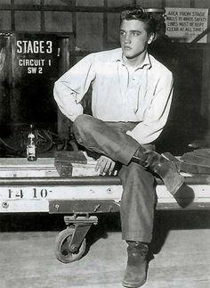 Elvis Presley on the set of 'Love Me Tender', 1956.