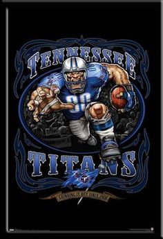 Tennessee Titans Vintage NFL Poster Grinding It Out Tennessee Titans Football, Raiders Football, Football Art, Football Stuff, Football Signs, Football Season, Football Helmets, Titans Gear, Tn Titans