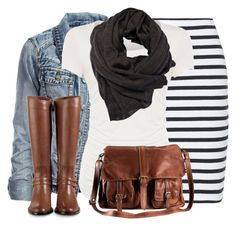 Season-Proof Your Outfits with These Winter to Spring Transition Outfits – Denim, black and white stripe skirt Mode Outfits, Casual Outfits, Fashion Outfits, Fashion Ideas, Fashion Fashion, Street Fashion, Fashion Women, Fall Winter Outfits, Autumn Winter Fashion