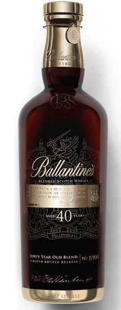 blended Scotch Whisky - 40 years old. A scotch whiskey renowned for its various and Ballantine's has deep roots and history. Tequila, Vodka, Cigars And Whiskey, Whiskey Drinks, Scotch Whiskey, Whiskey Bottle, Bourbon, Gin, Alcohol Bottles
