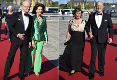 Parents of the Bride and Groom: King Carl Gustav and Queen Silvia, and Erik and Marie Hellqvist  arrive at the pre-wedding dinner for their children, Prince Carl Philip and Sofia Hellqvist, 12 June 2015.