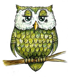 Green Ink and Watercolor Feathery Owl Print