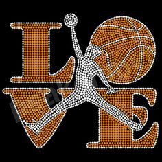 Love Basketball Rhinestone Motifs Transfer Custom Design For Sport Tee