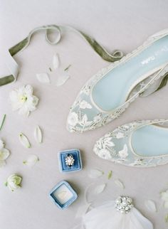 Beaded embroidered wedding flats by Bella Belle. Photography by Sophie Epton.