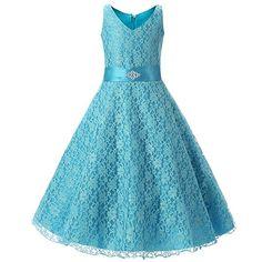 M&A Vestido Niña Para Fiesta Ceremonia Boda De noche Elegante azul cielo 150cm