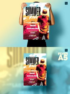 ❖ Summer Festivals Posters perfect to celebrate summer events ! - ❖ Package Features: Adobe Photoshop Files Included in download - - Size Flyer A5 : 6 in width x 8.4 in height with Bleeds: + 0,25 bleed - Size Poster A3 : 12 in width x 16.8 in height with Bleeds: + 0,25 bleed - - CMYK / Print Ready / 300 DPI - Easy to customize, all texts and elements are editable. - Model not included (Link in Package download) - Description file, fonts links... Summer Festivals, Summer Events, Festival Posters, Invitation Templates, Have A Great Day, A5, Adobe Photoshop, Texts, Link