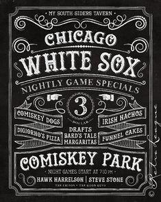 Chicago White Sox Pub Sign - Vintage Chalkboard - My South Siders Tavern - Birthday, Anniversary or Diehard Sox Gift - Unframed Print on Etsy, $22.00