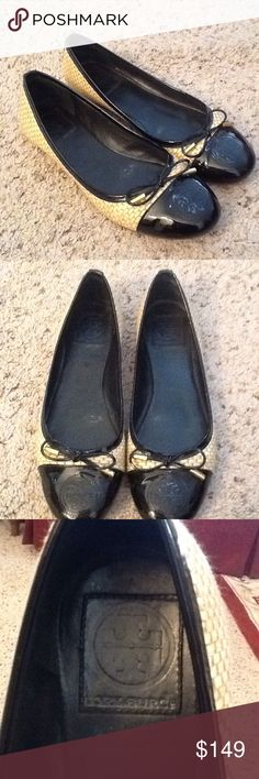 TORY BURCH CATHERINE RAFFIA BLACK BALLET FLATS, 8 Tory BURCH sz 8 Catherine Rafita black bow ballet flats.  Excellent condition!  Gorgeous shoes.  Will ship right away.  Check out my other designer items Tory Burch Shoes Flats & Loafers