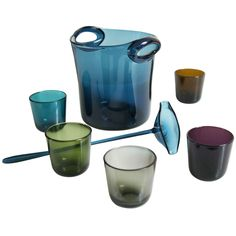 View this item and discover similar for sale at - Bowl set of five glasses, a spoon and a bucket. Design of the Finn Kaj Franck for Nuutajärvi Notsjö.