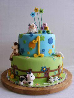 Cute farm animals birthday cake