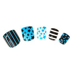 Lot de 24 faux-ongles à imprimés assortis bleus enfant