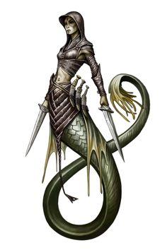 Female Merfolk Rogue - Pathfinder PFRPG DND D&D 3.5 5th ed d20 fantasy