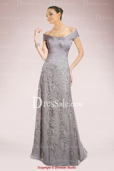 Glamorous A-line Mother of the Bride Dress with Exquisite Appliques Give this dress a second life:  after the wedding this can be shortened to make a VERY CLASSY dress with a shrug.