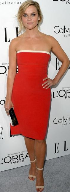 Who made  Reese Witherspoon's red strapless dress that she wore in Beverly Hills on October 21, 2013?