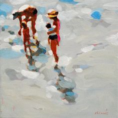 Elizabeth Lennie Gouache Painting, Painting & Drawing, Watercolor Paintings, Watercolors, Painting People, Figure Painting, Water Artists, Summer Painting, Coastal Art