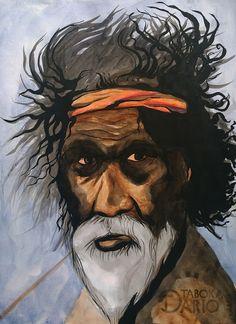 Ancião aborígene da austrália em aquarela e nanquim feito pelo ilustrador Dario Taboka.