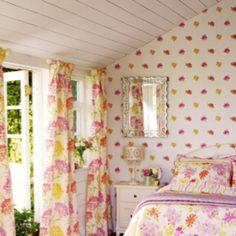 Summer pattern of Laura Ashley Summer Bedroom, Cozy Bedroom, Laura Ashley Yellow, Yellow Cottage, Interior Decorating, Interior Design, Romantic Homes, Room Wallpaper, Valance Curtains