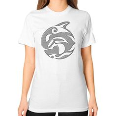 Diving Killer Whale Tattoo in Grey Unisex T-Shirt (on woman)