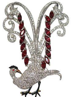 Sold - Signed Coro Bird of Paradise Rhinestone Enamel Pin Brooch 1940's