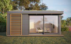 UK Garden Pods & Outdoor Office Building Designed By Pod Space Backyard Office, Outdoor Office, Backyard Studio, Garden Studio, Garden Office, Outdoor Living, Prefab Cabins, Prefab Homes, Eco Homes