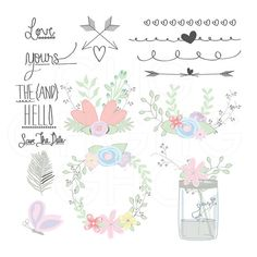 Wedding Clip Art Spring Floral Por GraceHarveyGraphics 499