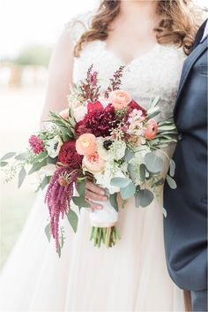 Autumn Fall Wedding Bouquet with Anemones, Ranunculus, Eucalyptus, and Garden Roses in tones of Burgundy and Peach