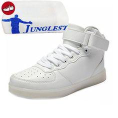 [Present:kleines Handtuch]Weiß EU 35, Turnschuhe Unisex Herren USB LED Erwachsene 7 Aufladen Sneaker Partyschuhe Damen Fasching Sportschuhe Laufschuhe Farbe weise