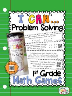 """This """"I CAN"""" Math game covers all standards for PROBLEM SOLVING in 1st grade. Perfect for Guided Math & Test Prep! {Common Core} With QR codes! Paid"""