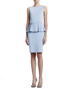 77625ae36487 Sateen Milano Knit Bateau Neck Dress with Peplum