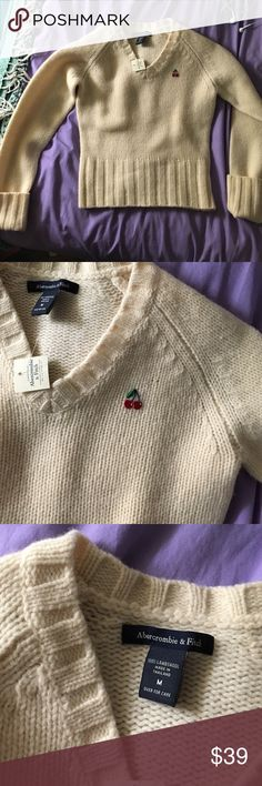 Really soft sweater This is sooooooo soft!!it is 100% lambs wool but is much softer than most lambs wool sweaters!! It has a cute cherry thing on the top of it! It says it's a medium, but I think it would fit a small better Abercrombie & Fitch Sweaters V-Necks
