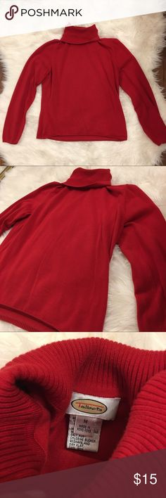 Talbots red turtleneck sweater soooo cute & soft 😊 turtleneck flips up or down so is adjustable Talbots Sweaters Cowl & Turtlenecks