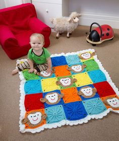 Wonderful DIY Cute Crochet Monkey Blanket for Baby | WonderfulDIY.com