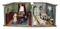 Wonderful German Wooden Furnished Dollhouse Rooms by Moritz Gottschalk 2500/3800