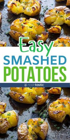 Easy tasty crispy smashed potatoes, a weeknight favorite side dish! You can make them with red potatoes, yukon gold, fin Gold Potato Recipes, Russet Potato Recipes, Healthy Potato Recipes, Healthy Potatoes, Scalloped Potato Recipes, Potato Side Dishes, Healthy Crockpot Recipes, Healthy Side Dishes, Side Dish Recipes