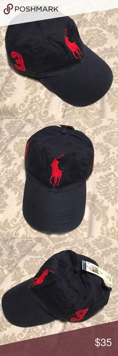 Polo Ralph Lauren men hat Polo Ralph Lauren men hat. NWT Navy in color, red Big pony logo. Price are Firm! Polo by Ralph Lauren Accessories Hats