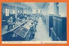 Escuelas Salesianas de Sarrià. Postal nº 32 Taller de cajistas.