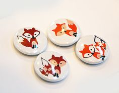 4 Fox Pinback Buttons   By Pocket Bears  Stampin Up by PocketBears, $5.55