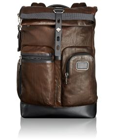 Amazon.com: Tumi Alpha Bravo Luke Leather Roll-Top Backpack, Dark Brown, One Size: Clothing