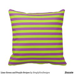 Lime Green and Purple Stripes Throw Pillows