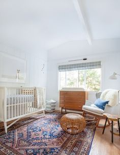 Mid Century-accents, chic textiles and a neutral palette for any gender babe. (mix white with wood)