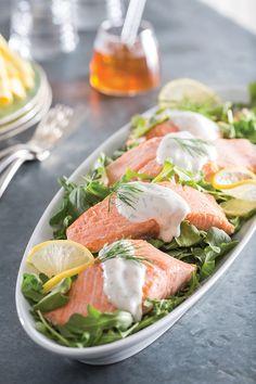 National Honey Board Recipe: Chilled Poached Salmon Salad with Honey-Yogurt Dressing