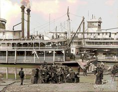Steamboat Art | ... Colorized Photograph - Steamboat Landing 1905 Colorized Fine Art Print