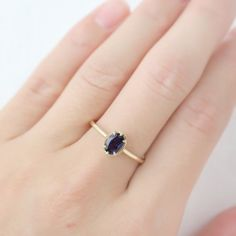 gold genuine Iolite ring oval stone ring gift for her Winter Sky, Dark Winter, 14k Gold Ring, Gold Rings, Shades Of Violet, Jewelry Rings, Jewellery, Stone Rings, Unique Rings