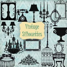 15 Vintage Silhouettes - Digital Clipart / Scrapbooking black - card design, invitations, stickers, paper crafts, web design. COMMERCIAL USE...