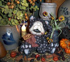 "Primitive Halloween Black Witch Paw Cat Fall 5"" Doll Vtg Patti's Ratties Bear"