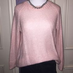 Pink crew neck sweater Soft pink, lightweight sweater. Only worn once and in perfect condition. Mohair blend and zipper on the back H&M Sweaters Crew & Scoop Necks